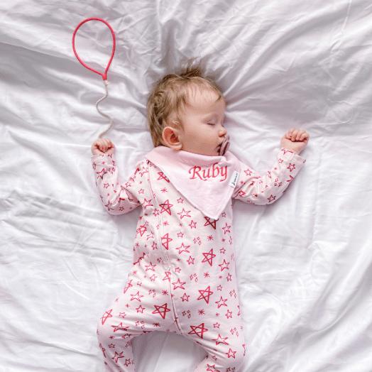 The Stork Box | Star Grippy Zippy Sleepsuit -Pink