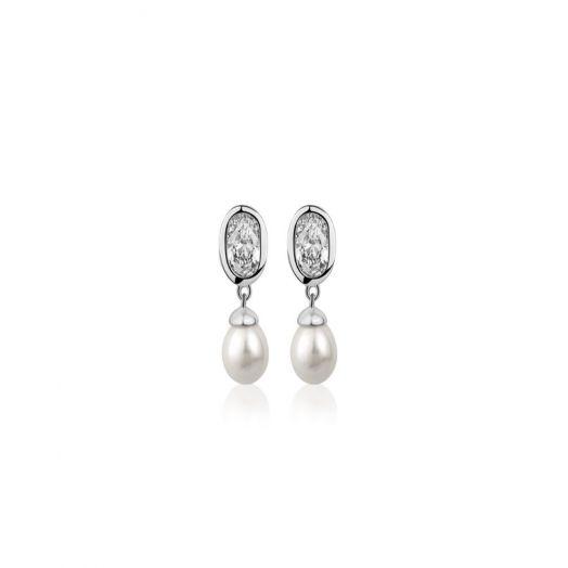 Newbridge Silverware | Grace Kelly Pearl Drop Earrings with Clear Stone