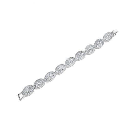 Newbridge Silverware   Oval Bracelet with Clear Stone