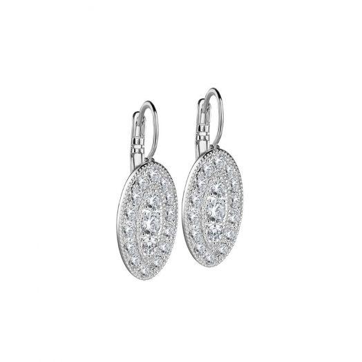 Newbridge Silverware |Oval Earrings with Clear Stones