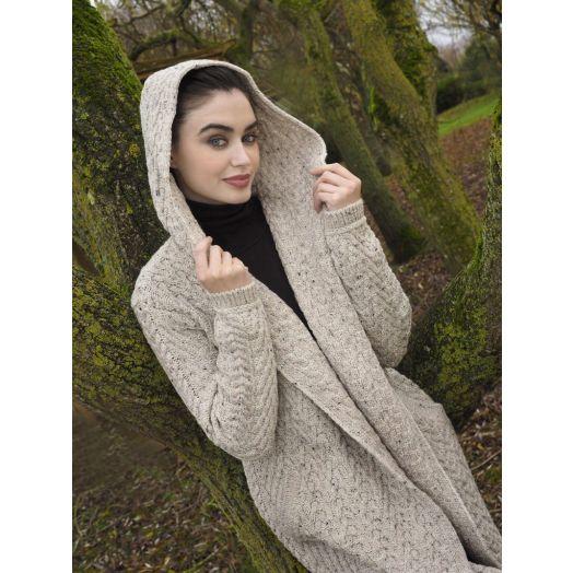 WestEnd Knitwear | Herringbone Shawl With Hood-Oatmeal