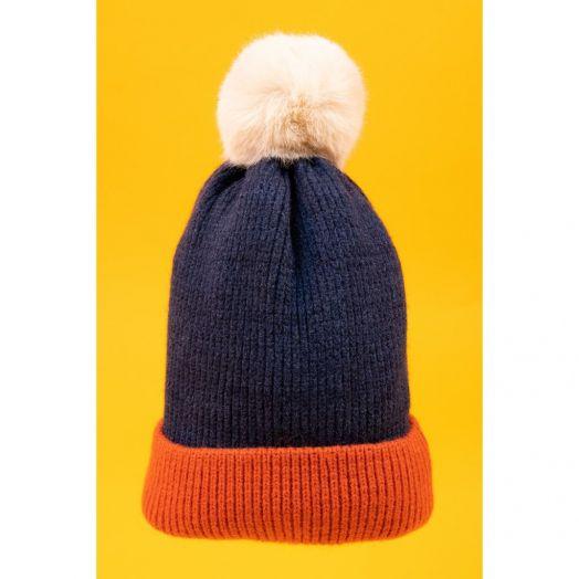 Powder | Bonnie Bobble Hat in Navy/Tangerine