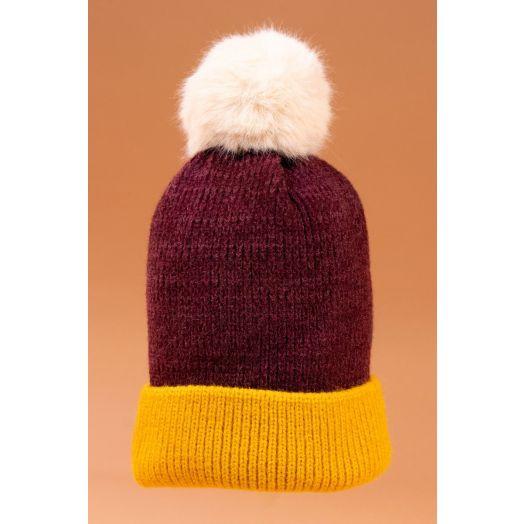 Powder | Bonnie Bobble Hat in Damson/Mustard