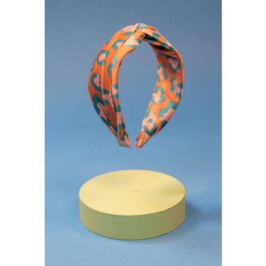 Powder   Printed Velvet Leopard Headband in Coral/Teal