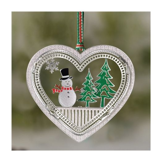 Newbridge Silverware | Snowman in Heart Decoration