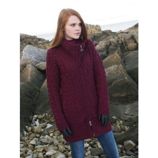 West End Knitwear | Double Collar Coat X4263 - Wine