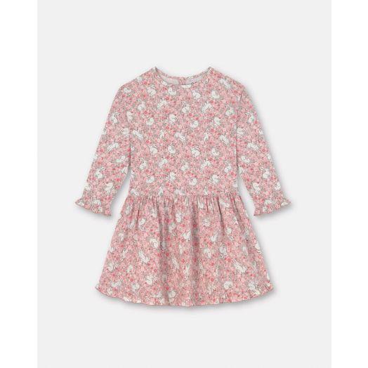 Cath Kidston | Jumping Bunnies Long Sleeved Dress | Light Pink