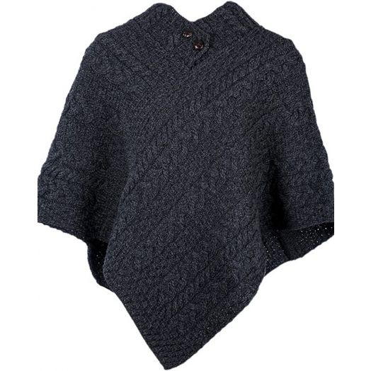 Aran Woollen Mills | 100% Merino Wool Button Poncho | Charcoal A200