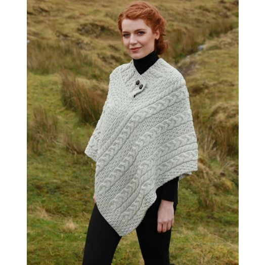 Aran Woollen Mills |100% Merino Wool Button Poncho | Natural | A200