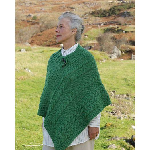 Aran Woollen Mills | 100% Merino Wool Button Poncho | Light Green A200