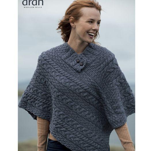 Aran Woollen Mills |100% Merino Wool Button Poncho | Denim | A200