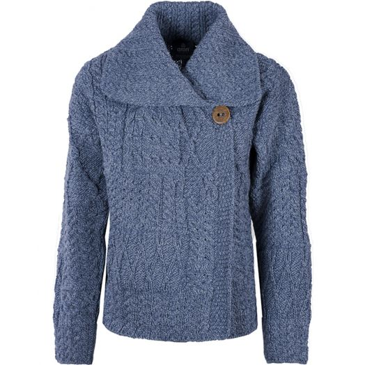 Aran Woollen Mills | One Button Sweater With Draped Collar | A313 - Denim