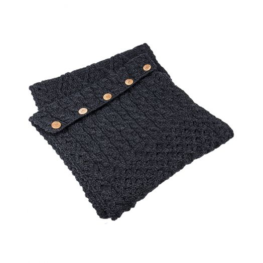 Aran Woollen Mills   Snood Scarf with Buttons   A518-Derby Charcoal