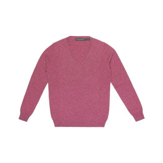 Ireland's Eye | Luxe V Neck Sweater A734 - Deep Rose