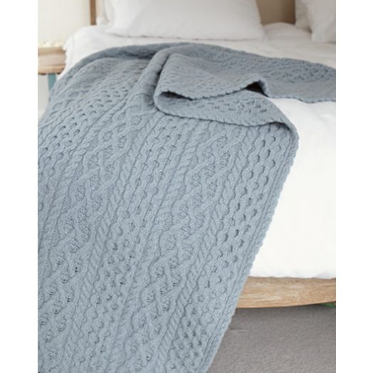 Ireland's Eye | Luxe Aran Wool and Cashmere Throw-Duck Egg Blue