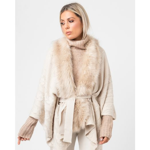 Pia Rossini | Alex Faux Fur Knitted Wrap- Cream