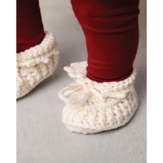 Aran Woollen Mills | Handknit Baby Slippers With Bow | R494 - Natural