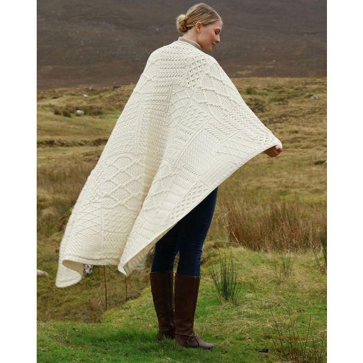 Aran Woollen Mills    Aran Patchwork Blanket   A510 - Natural