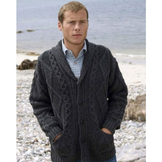100% Merino Wool Shawl Collar Cardigan | Charcoal | SH4139