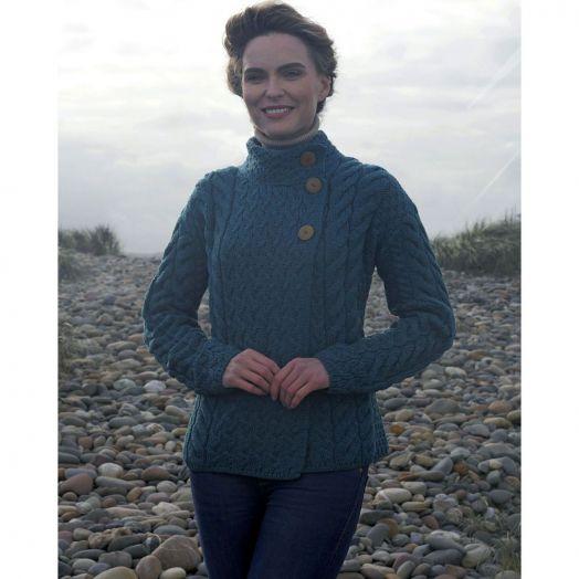 Aran Woollen Mills | Super Soft Three Button Trellis Cardigan | B840- Irish Sea Blue