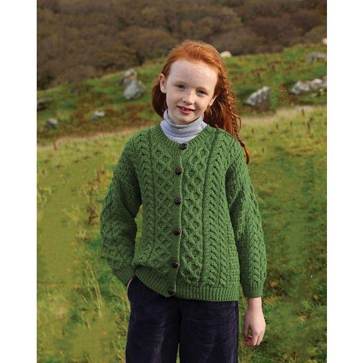 Children's 100% Merino Wool Aran Cardigan | Green