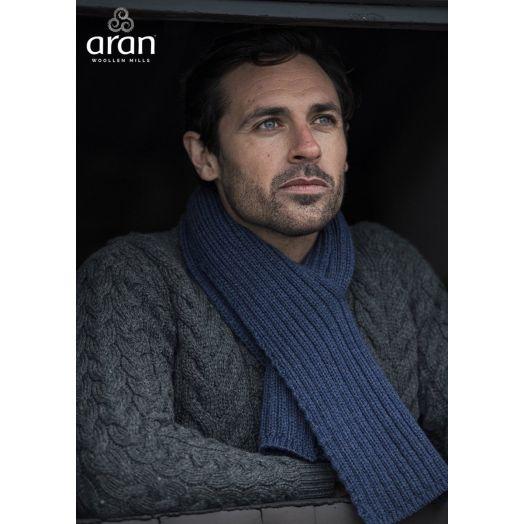 Aran Woollen Mills | Pulled Through Ribbed Scarf - Ink