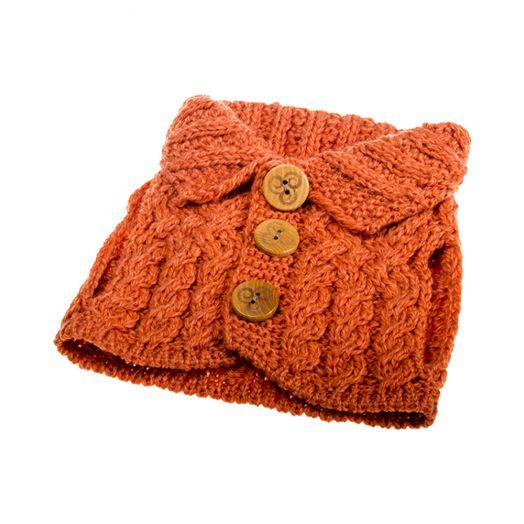 Aran Woollen Mills   Aran Cardigan Tea Cosy   B421- Autumn Leaves Orange