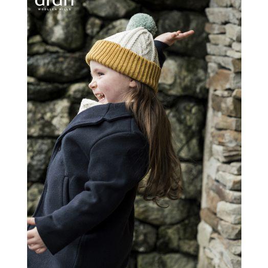 Aran Woollen Mills   Children's Pom Pom Merino Wool Hat- Sun/White