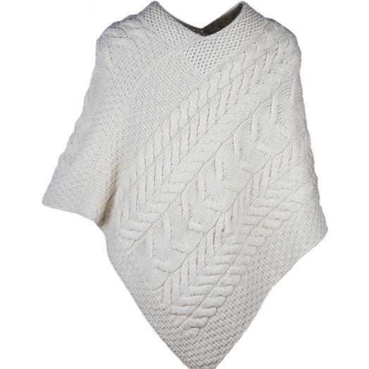 Aran Woolen Mills | Merino Wool Triangular Poncho- B676- Aran Natural