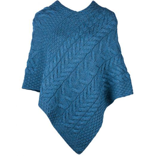 Aran Woolen Mills | Merino Wool Triangular Poncho- B676- Irish Sea Blue