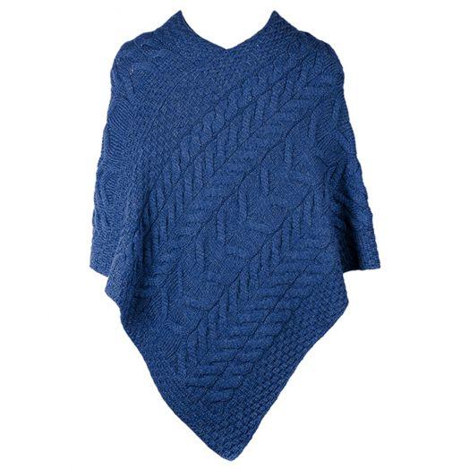 Aran Woolen Mills | Merino Wool Triangular Poncho- B676- Ink Blue
