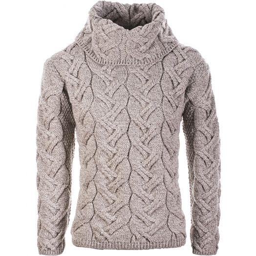Aran Woollen Mills | Supersoft Merino Wool Chunky Cowl Neck Sweater | B692 - Oatmeal