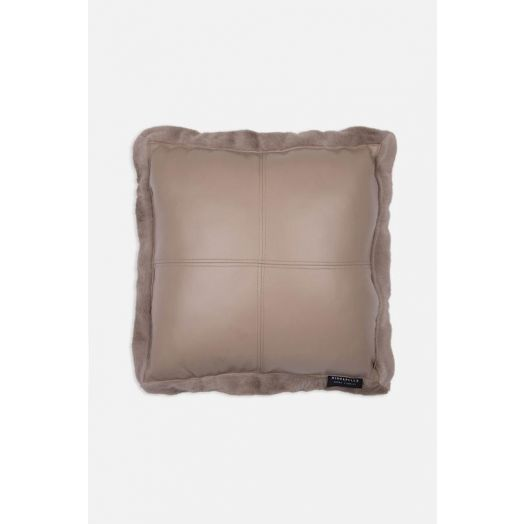 Rino & Pelle | Vegan Leather Cushion - Silver Cloud