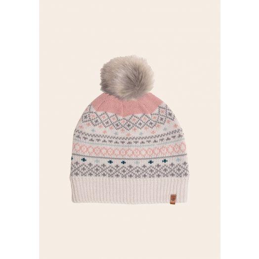 Brakeburn   Fairisle Beanie Hat - Cream
