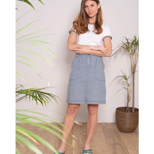 Brakeburn | Stripe Denim Skirt- Blue
