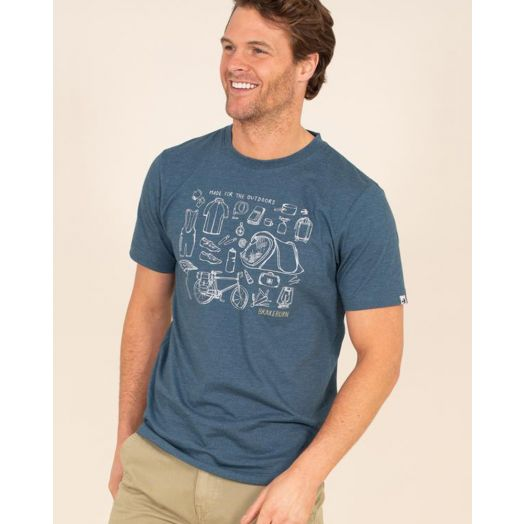 Brakeburn | Camping Graphic T-Shirt- Blue