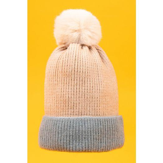 Powder | Bonnie Bobble Hat in Cream/Ice
