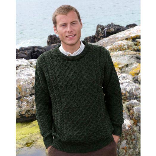 Original Aran Co. | Traditional Crew Aran Sweater Unisex 2514- Army Green