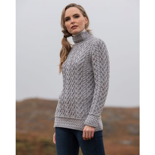 West End Knitwear |  Supersoft High Neck Sweater | Soft Grey | C4767