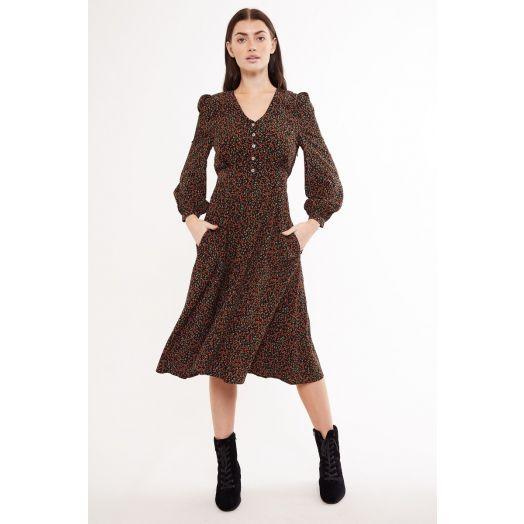 Louche | Calandra Midi Floral Print Dress -Orange Mix