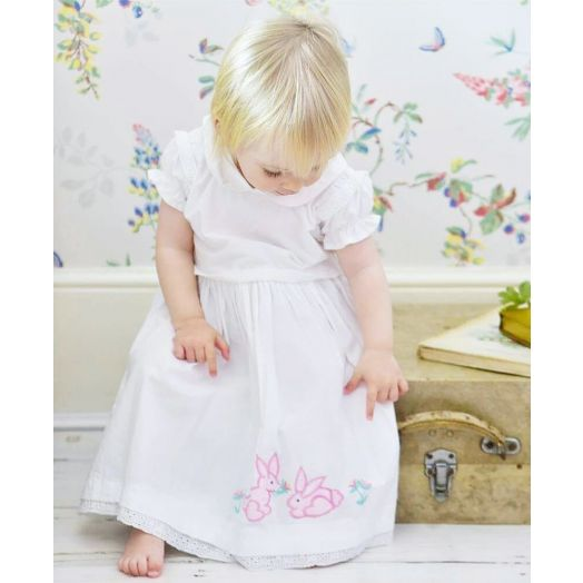 Powell Craft | Dress with Pink Rabbits-White