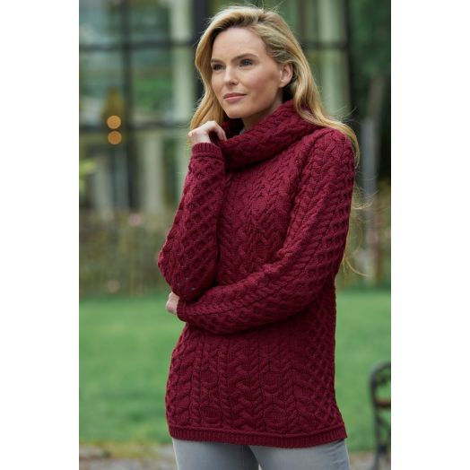 West End Knitwear   Cable Cowl Neck Sweater CW4885- Fuchsia