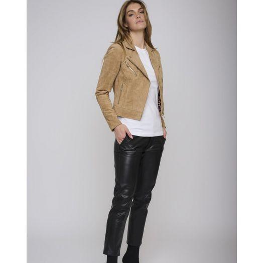 Rino & Pelle | Suede Leather Biker  Jacket- Tan