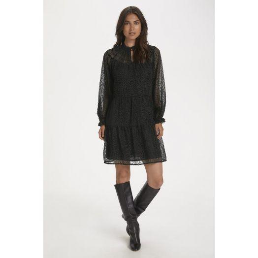 Part Two | Fryd Burnout Dot Print Dress - Black