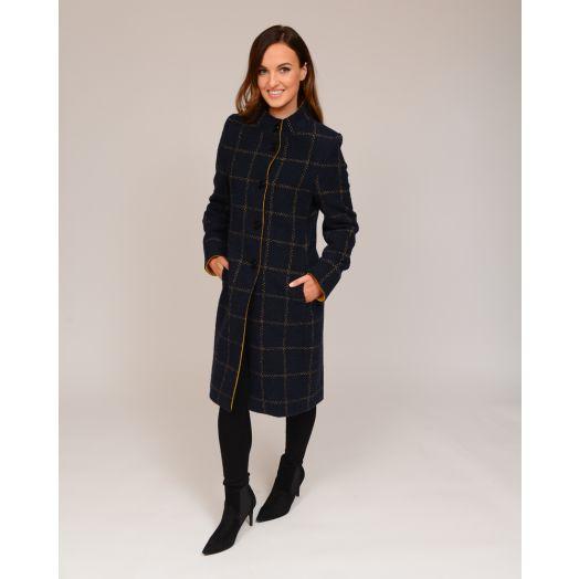 Christina Felix | Wool High Collar Coat -Blue/Mustard