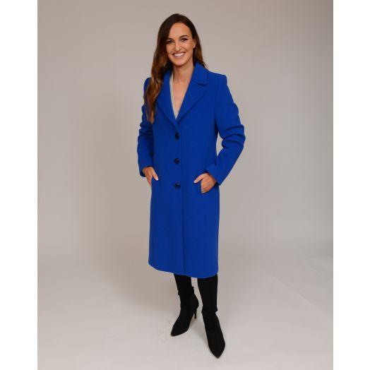 Christina Felix | Wool Stitch And Trim Coat- Blue