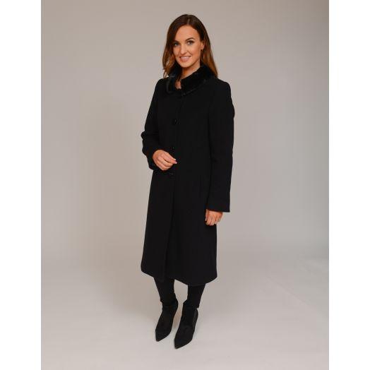 Christina Felix | Faux Fur Collar Wool Coat -Black