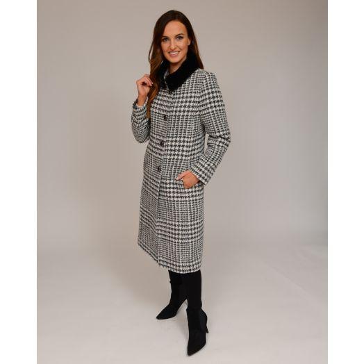 Christina Felix | Check Print Wool Rich Coat- Black and White