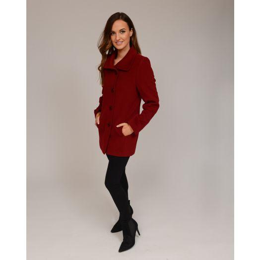Christina Felix | Short Wool Lapel Coat -Wine