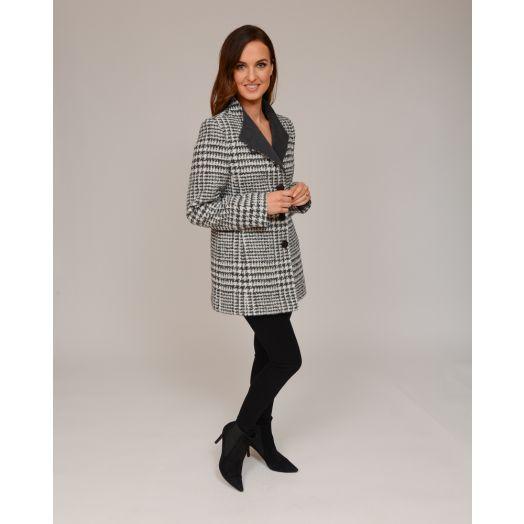 Christina Felix | Short Wool Tweed Lapel Coat- Grey/White